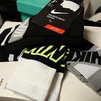Nike Dri-Fit Cotton Graphic Crew Socks Black/white/grey/volt 3 Pack Mens 8-12 Photo