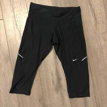 Nike Dri Fit Cropped Leggings Size Xs Black Work Out Running Yoga Capri  Photo