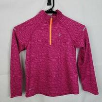 Nike Dri Fit Element 1/4 Zip Up Running Pullover Pink 589610-610 Girls Size M Photo