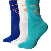 Nike Dri-Fit Fly Mens Crew Sock 3 Pair Sz 8-12 Asstd Colors Teal/white/blue-Nwt Photo