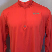 Nike Dri-Fit Mens Xl Element Stripe 1/4 Zip Running Pullover Jacket Solid Orange Photo