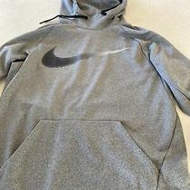 Nike Dri-Fit Therma Hoodie Pullover Swoosh Size Medium Sweatshirt Black Grey Photo