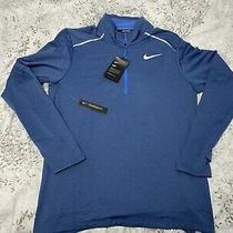 Nike Dry-Fit Element 1/2 Zip Running Shirt Top Blue Bv4721 419 Men's Size Medium Photo