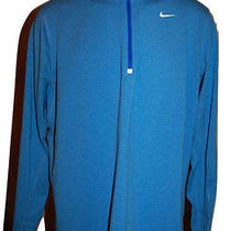 Nike Element Blue Dri-Fit 1/4 Zip Running Training Shirt Men's Size Large Photo