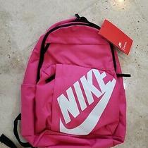 Nike Elemental Durable Pink White Nike Swoosh Logo Backpack 19x12x6 Msrp 40 Nwt Photo