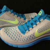 Nike Free 3.0 Women's Running Shoes Size 10 511495 004 Aqua/grey/lime Photo