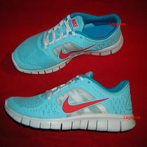 Nike Free Run 3 Running Shoe Sneaker Blue White Women 8 Girl Boy 6.5 New Trainer Photo