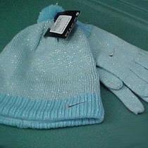 Nike Girl's Hat & Gloves Set Size 7-16 New Shimmery Aqua Photo