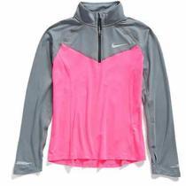 Nike Girls' Element Half-Zip Long-Sleeve Running Top Pink/gray  Size Xs Photo