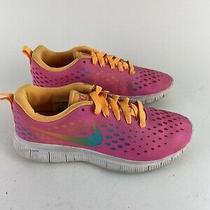 Nike Girls Sz 4 Free Express Running Shoes Pink Rainbow Orange 641866-600 Lace Photo