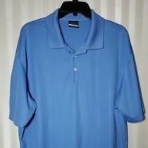 Nike Golf Mens Sz Xl Polo Shirt Light Blue Short Sleeve Dri-Fit Branded Sleeve Photo