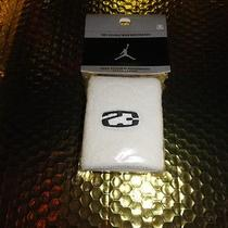 Nike Jordan Tennis Wrist Band in White With Black Embroidered Logos Photo