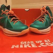 Nike Lebron X Gs Sz 6.5y Miami Dolphins Atomic Teal Green Orange Black Youth Photo