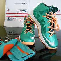 Nike Lebron X Lebron James 10 Dolphins Colorway Sz 7y Nib Bonus Matching Socks Photo