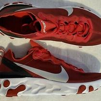 Nike Men's Size 13 React Element 55 Red / Wolf Grey Running Shoes Bq6166-601 New Photo