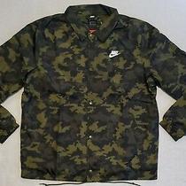 Nike Men's Size Large Woven Coaches Camo Snap Button Jacket Coat Cj4537-331 New Photo
