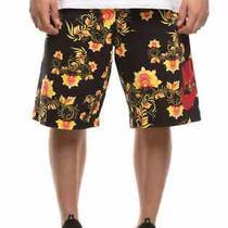 Nike Men's Sportswear Floral Shorts Black/yellow 909248-719 Size Large L B02 Nwt Photo
