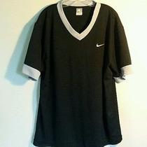 Nike Men's Xxl v Neck Shirt Gently Used Black With Grey Trim Photo