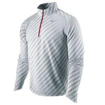 Nike Mens Running Element Jacquard Drifit 1/4 Zip Shirt Jacket Gray/white Medium Photo