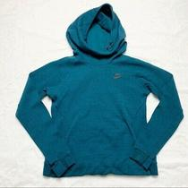 Nike Rally Teal Blue Funnel Neck Pullover Hoodie Sweatshirt Medium Photo
