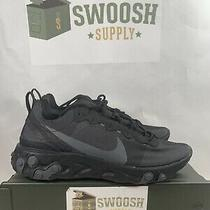 Nike React Element 55 Black/black/black Running Shoes Mens 6 Wmns 7.5 Bq6166 008 Photo
