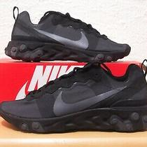 Nike React Element 55 Mens Size 10.5 Triple Black Grey Running Shoes Bq6166-008 Photo