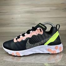 Nike React Element 55 Premium Running Black Volt Coral Pink Cd6964-002 Size 8 Photo