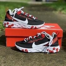 Nike React Element 55 Running Shoes Black Red (Bq2728-009) Women's Size 6 Photo