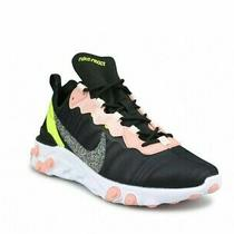 Nike React Element 55 Running Shoes Women 8 New Cd6964-002 Black Volt Coral Photo