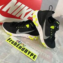 Nike React Element 55 Size 6.5 Black Volt Yellow Training Running Shoes Nib Photo