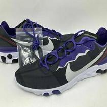 Nike React Element 55 Tcu Horned Frogs Sneakers Ck4849-001 Sz 8.5 Ncaa College Photo