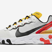 Nike React Element 55 White Black Crimson Gold Bq6166-102 Men Sneaker Size 12 Photo