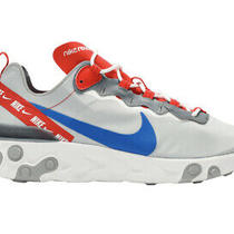 Nike React Element 55 Wolf Grey Royal Red Shoes Men's Us Size 9 Cd7340-001 New Photo