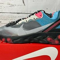 Nike React Element 87 Grey Solar Red Blue Chill Aq1090-006 Running Shoes  Photo