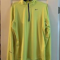 Nike Running Dri-Fit Element Mens Medium M 1/4 Zip Yellow Athletic Top Euc Photo