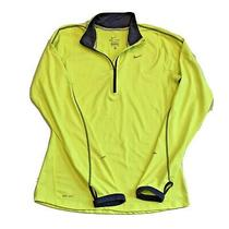 Nike Running Element Dri-Fit Long Sleeve Top Neon Yellow Half Zip Womens Small Photo