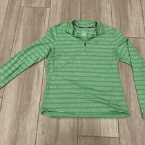 Nike Running Element Dri Fit Men's Medium Green Stripe 1/4 Zip Athletic Pullover Photo