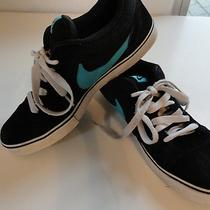 Nike Size 12 Men's Sneakers Shoes Low Used Black Suede Aqua Blue Skateboarding Photo
