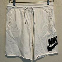 Nike Sportswear Men's Sweat Shorts With Pockets Size Large White Swoosh Logo Euc Photo