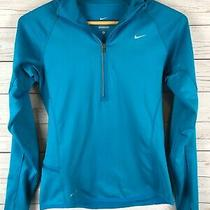 Nike Women's Blue Hooded Element Thermal 1/4 Zip Pocket Fitness Top Small S Photo