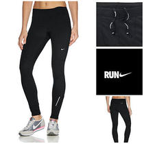 Nike Women's Element Thermal Black Reflective Running Tights Ankle Zip Sm Nwt Photo
