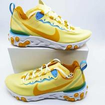Nike Womens React Element 55 Running Shoes Yellow Bq2728-700 Low Top 7 New Photo
