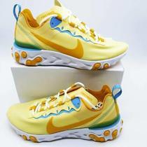 Nike Womens React Element 55 Running Shoes Yellow Bq2728-700 Low Top 7.5 New Photo
