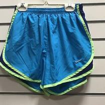 Nike Womens S Dri-Fit Running Shorts Gym Workout Yoga Run Built in Briefs Blue Photo