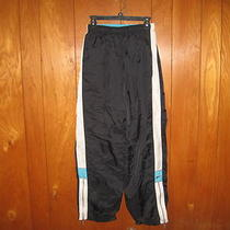 Nike Womens Size L Running Athletic Pants Black Aqua Fully Lined Bottom Zip Photo