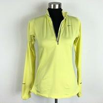 Nike Womens Small Element 1/2 Zip Yellow Long Sleeve Athletic Shirt Thumbholes Photo