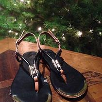 Nina Black Gold and Tan Strappy Sandals  Photo