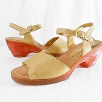 Nina Brown Platform Sandal 8.5 M Tan Leather Clear High Heel Ankle Strap Natural Photo