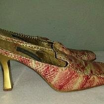 Nina Fellini Pink/gold Snakeskin Fantasy Collection Mules Size 7 Photo