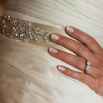 Nina Justine Swarovski Crystal and Satin Sash - Powder Sand Photo